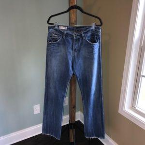 Red Engine Distressed Hem Boyfriend Jeans